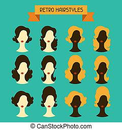 silhouettes., hairstyles., retro, femme