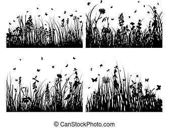 silhouettes, herbe, ensemble