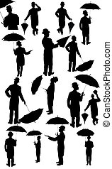 silhouettes, hommes, complet