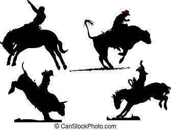 silhouettes., illustration, quatre, rodéo, vecteur, noir, blanc