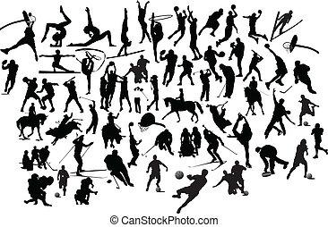 silhouettes., illustration, vecteur, noir, collection, blanc, sport