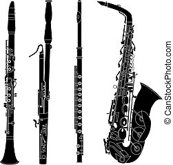 silhouettes, instruments, bois