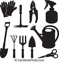 silhouettes, jardinage