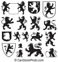 silhouettes, lions, héraldique