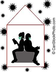 silhouettes, livre, gens