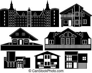 silhouettes, maison