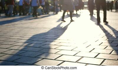 silhouettes, marche, gens