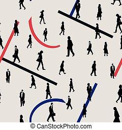 silhouettes, marche, résumé, gens arrière-plan