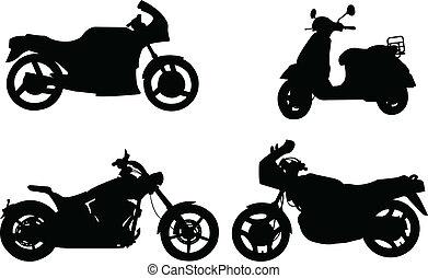 silhouettes, motocyclettes