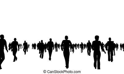 silhouettes, mouvements, blanc, foule, gens