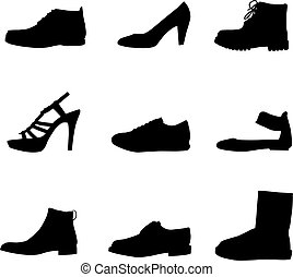 silhouettes, noir, chaussures