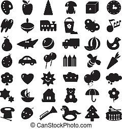 silhouettes, noir, jouets