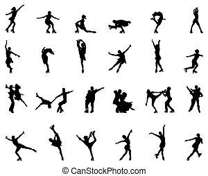silhouettes, noir, patinage