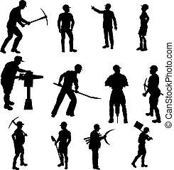 silhouettes, ouvrier construction