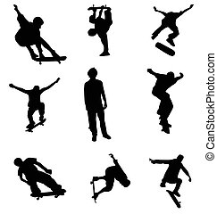silhouettes, patineur, collection