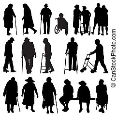 silhouettes, personnes agées