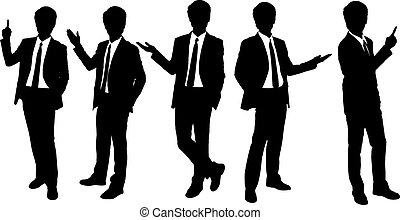 silhouettes, présentation, homme affaires