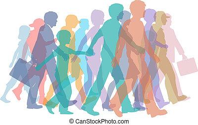 silhouettes, promenade, foule, coloré, gens