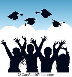 silhouettes, remise de diplomes, célébration