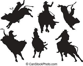 silhouettes., rodéo, vecteur, six, illustration