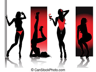 silhouettes, rouges, sexy