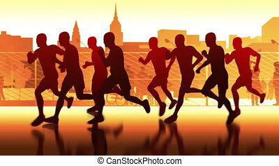 silhouettes, rue, runners.