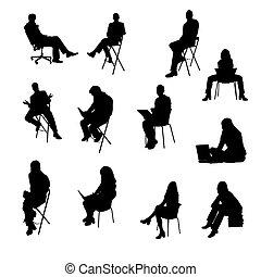 silhouettes, séance, professionnels