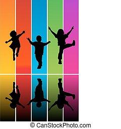 silhouettes, sauter, enfants