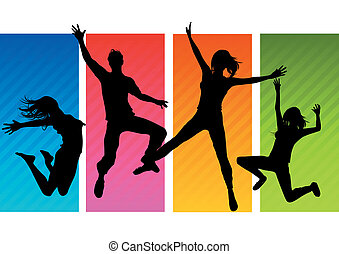 silhouettes, sauter, gens