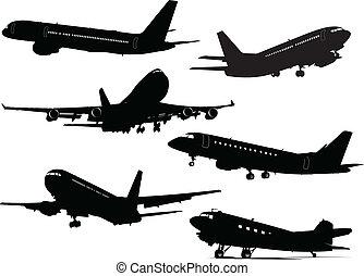 silhouettes, six, avion, vecteur