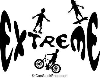 silhouettes, sport, dessin animé, extrême