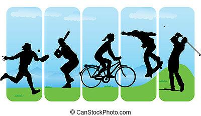 silhouettes, sport, loisir