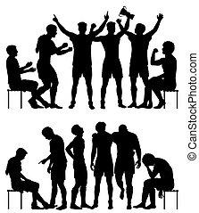 silhouettes, sport, perdants, vainqueurs