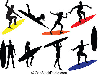 silhouettes, surfer