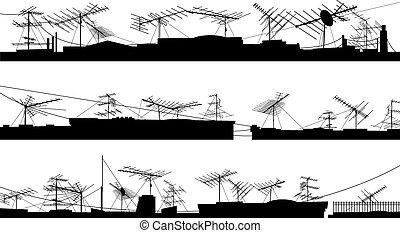 silhouettes, toit, antennas.
