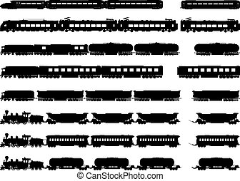 silhouettes, trains, locomotiv