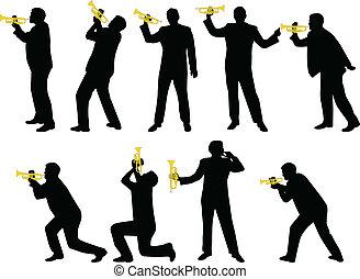 silhouettes, trompette