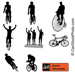 silhouettes, vélo, collection