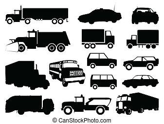 silhouettes, vecteur, cars., illustration, collection