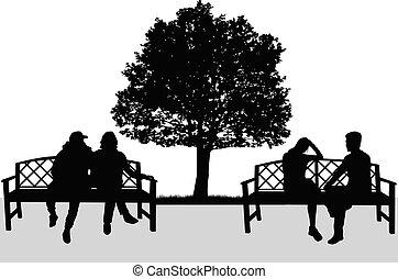 silhouettes, vecteur, couples., work.