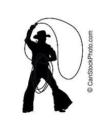 silhouettes, vecteur, cow-boy