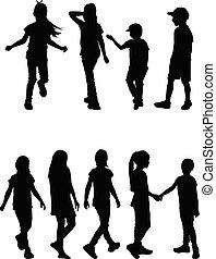 silhouettes., vecteur, enfants, work.