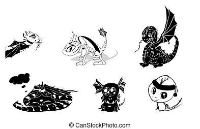 silhouettes, vecteur, ensemble, dragons