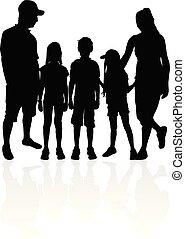 silhouettes., vecteur, famille, work.