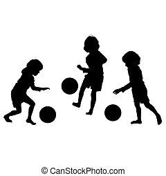 silhouettes, vecteur, football, enfants