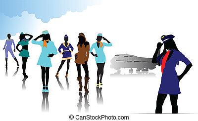 silhouettes., vecteur, hôtesse, illustration