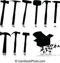 silhouettes, vecteur, marteau