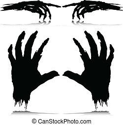 silhouettes, vecteur, monstre, main