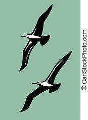 silhouettes, vecteur, oiseaux mer