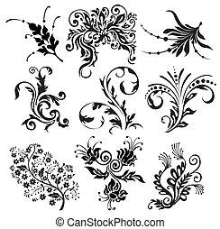 silhouettes, vecteur, ornement, fleur